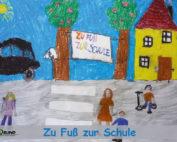"""Postkarte: Malwettbewerb 2018 """"Zu Fuß zur Kita und zur Schule"""""""